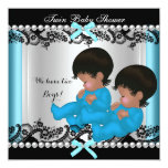 African American Twin Boys Baby Shower Blue 3 Personalized Announcement