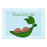 African American Twin Boys Baby Shower Invitation