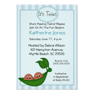 """African American Twin  Boys Baby Shower Invites 5"""" X 7"""" Invitation Card"""