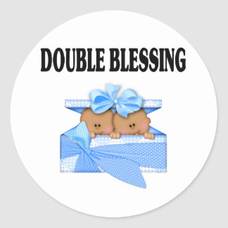 African American Twin Boys  Double Blessing Classic Round Sticker