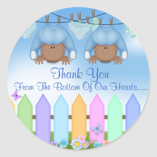 AFRICAN AMERICAN Twin Boys THANK YOU FAVORS Classic Round Sticker