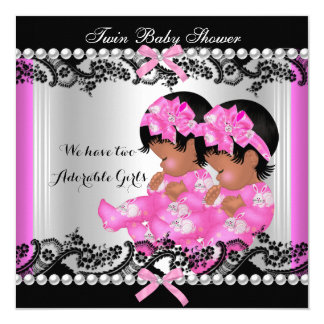 African American Twin Girls Baby Shower Hot Pink 2 Card