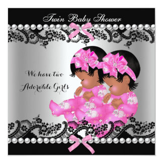 African American Twin Girls Baby Shower Hot Pink Custom Announcements