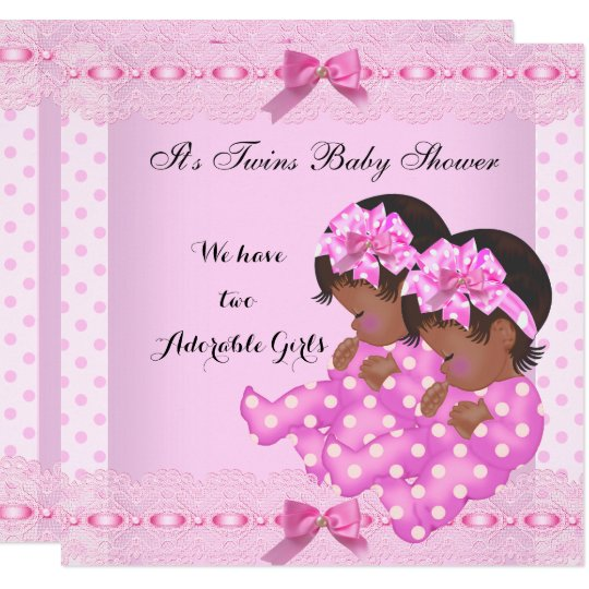 African American Twin Girls Baby Shower Pink Invitation Zazzle