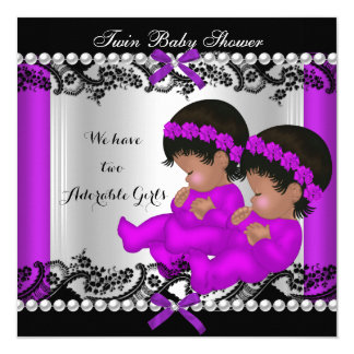 African American Twin Girls Baby Shower Purple 5.25x5.25 Square Paper Invitation Card