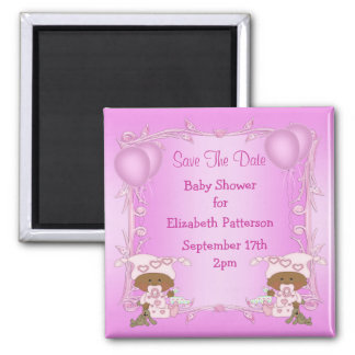 African American Twins Baby Shower Save The Date Magnet