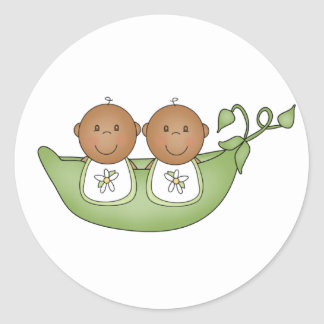 African American Twins in Pea Pod Classic Round Sticker