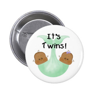 African American Twins Pinback Button