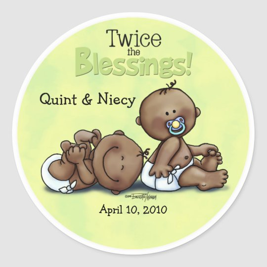 African American Twins Twice Blessed Classic Round Sticker