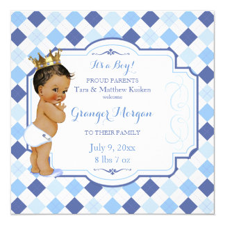 African American Vintage Baby Crown Little Prince Card