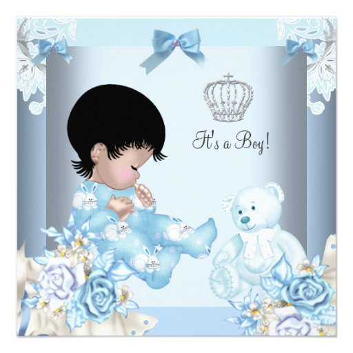 African American Vintage Prince Baby Shower Boy Custom Announcements