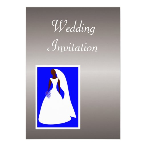 "African American Wedding Invitation With Bride 5"" X 7"