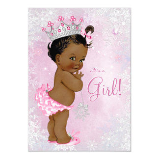 African American Winter Wonderland Baby Shower 5x7 Paper Invitation Card