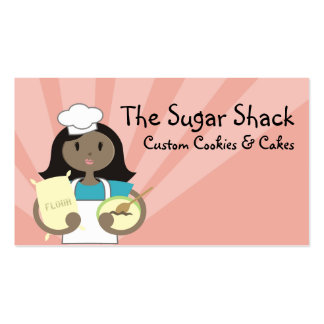 African American woman baking chef flour cards Double-Sided Standard Business Cards (Pack Of 100)