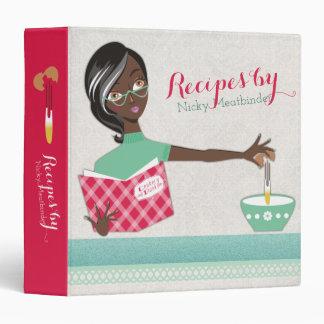 African American woman break eggs recipe cookbook Binder