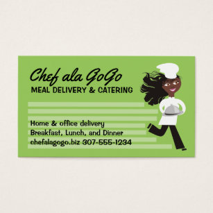 African american catering business cards templates zazzle african american woman chef food delivery catering business card colourmoves Images