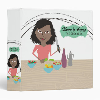 African American woman cooking recipe cookbook Binder