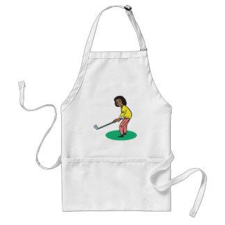 African American Woman Golfer Adult Apron
