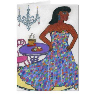 African American Woman Greeting Card-Chandelier Card