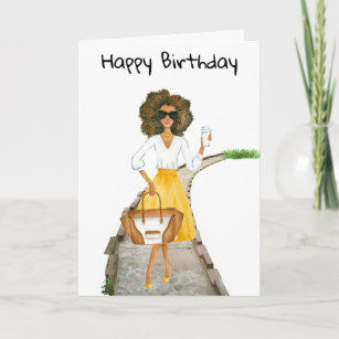 African American Womans Birthday Card