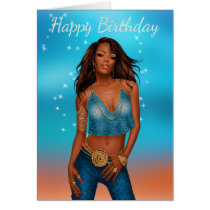 African American Woman's Birthday Card