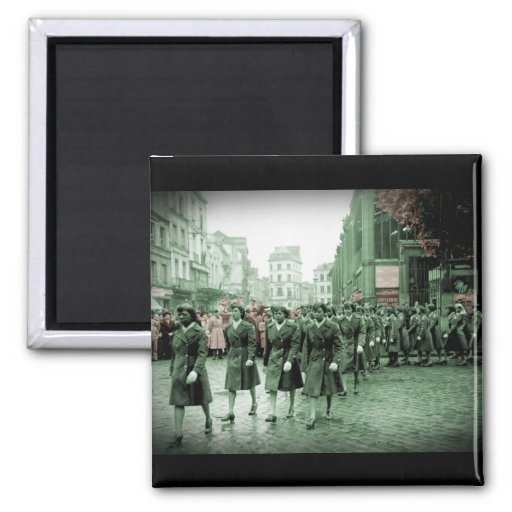 African American Women Marching 2 Inch Square Magnet