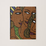 """African American women sister friends Jigsaw Puzzle<br><div class=""""desc"""">Closeup image of three beautifully illustrated African American female faces,  supporting each other as friends and sisters. Originally designed for the National Cancer Institute for the Cancer in Women of Color series. Perfect for special gifts and keepsakes,  greeting cards,  birthday cards,  invitations to a shower or save the date.</div>"""