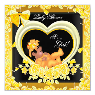 African American Yellow Gold Baby Shower Girl 2 5.25x5.25 Square Paper Invitation Card