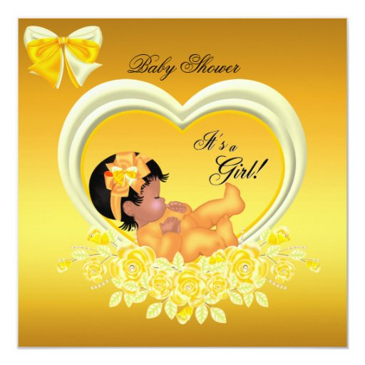 african american yellow gold baby shower girl custom