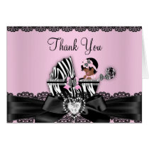 African American Zebra Baby Shower Thank You Card
