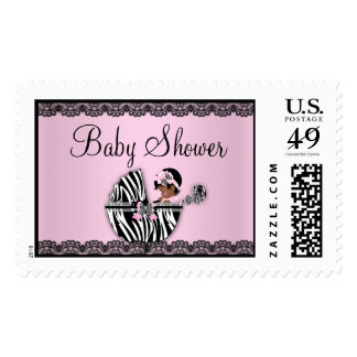 African American Zebra & Lace Baby Shower Stamp