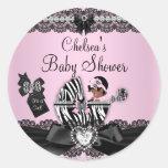 African American Zebra & Lace Baby Shower Sticker Round Sticker