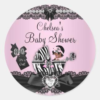 African American Zebra & Lace Baby Shower Sticker
