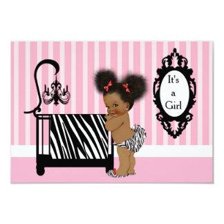 African American Zebra Print Baby Shower Card