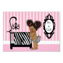 African American Zebra Print Baby Shower Invitation