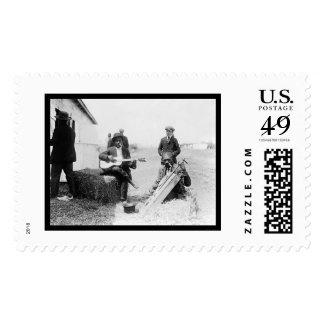 African Americans with Kazoos and a Guitar 1914 Postage Stamp