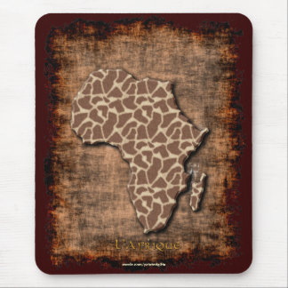 African Animal Grunge Map of AFRICA Wildlife Mouse Pad