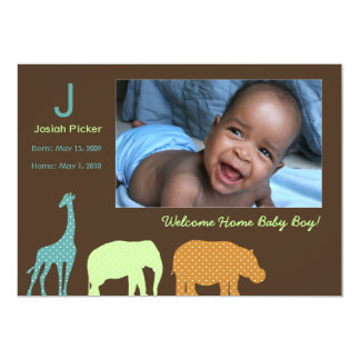 African Animal Monogram: Blue Card