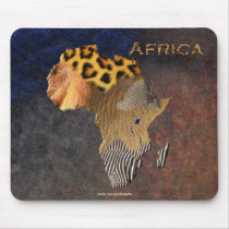 African Animal Texture Map of AFRICA Wildlife Mouse Pad