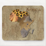 African Animal Texture Map of AFRICA Wildlife Mouse Pads