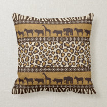 African Animals and Leopard Wraparound Print Throw Pillow