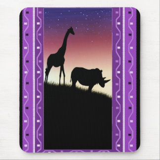 African animals at sunset mouse pad