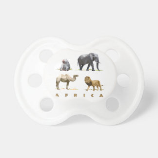 african animals lion, elephant, camel, baboon