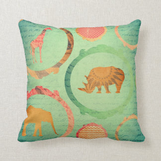 African Animals on Green Throw Pillow