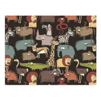 African Animals Pattern Postcard
