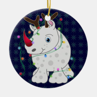 African Animals Rhino Christmas Style 1 Ceramic Ornament