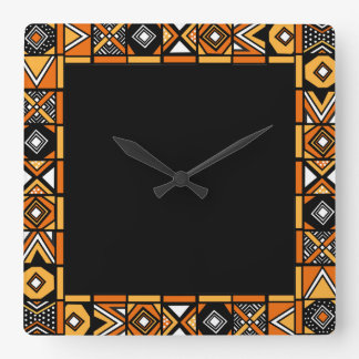 African art pattern square wall clock