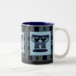 African art tribal carving - twins blue Two-Tone coffee mug
