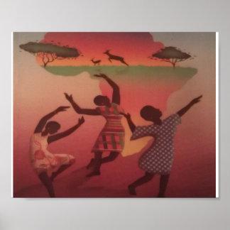 african_art women_dance poster