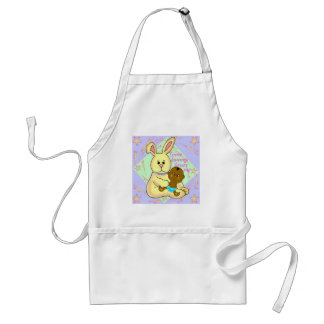 African baby and yellow rabbit adult apron